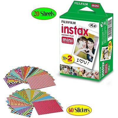 FujiFilm Instax Mini Instant Film 1 Pack - 20 Sheets + 60 Assorted Colorful Mini