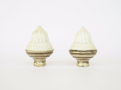 Antique Brass & Ceramic Pair Of Bed Knobs Tops Finials