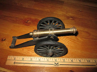 Vintage Cast Iron & Brass Desk Cannon Made in USA Well Made Weighs 2lbs 2oz