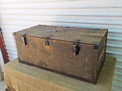 Vintage WWII US Military World War 2 Foot Locker Trunk Wood Green Plywood