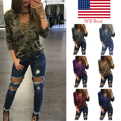 Sexy Women Lace Up Long Sleeve Camouflage Casual Blouse Tops Lady Loose T-Shirt