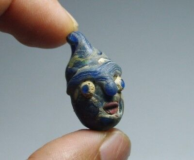 Old Antique Islamic  Ancient Phoenician STYLE glass mosaic Face Bead beads