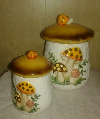 Vintage Sears Robuck and Co. Mushroom Canisters set of two 1983