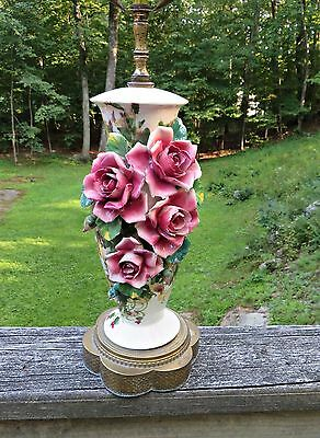 Vtg 50's CAPODIMONTE Porcelain Rose Roses Flowers Table Lamp Italy Italian RARE!