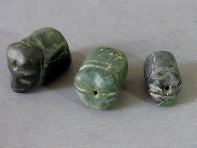 "Beautiful & Rare 3 Antique Animal Natural Stone Beads Cave infrom ""Elephant"""