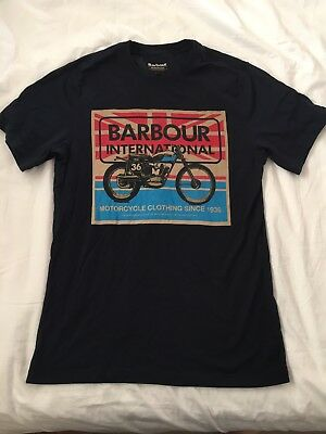 Barbour International British Motorcycle Tshirt Medium Steve McQueen