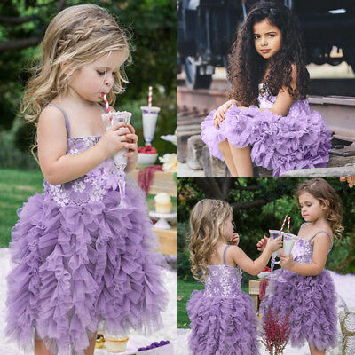 Flower Girls Princess Dress Kids Baby Party Pageant Lace Tulle Tutu Dresses AU