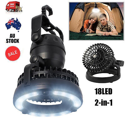 2-in-1 18 LED Camping Fan Light lantern Combo Flashlight and Ceiling Fan Outdoor