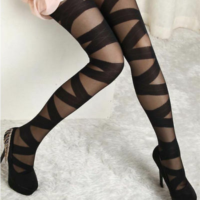 Punk Chic Strappy Mummy Ribbon Wrap Bandage Sheer Opaque Tights Pantyhose Sexy