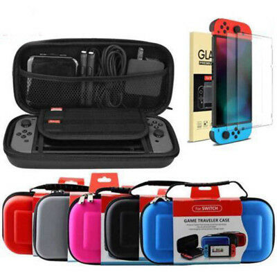 Carrying Case for Nintendo Switch Travel Bag+Tempered Glass Screen Protector