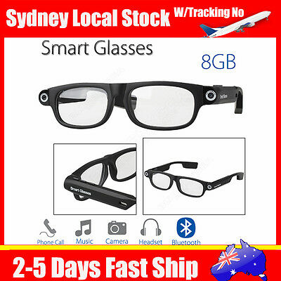 Fast Bluetooth 4.0 Wireless Smart Glasses 8GB Music Camera Handfree W/ Headphone