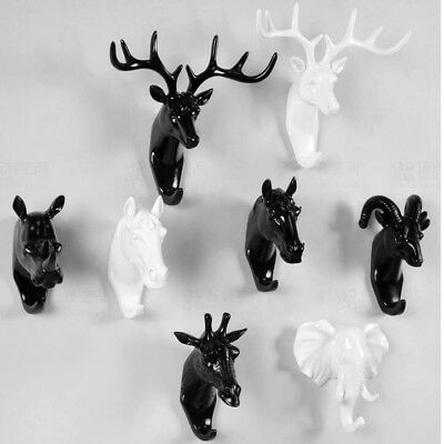 Creative Animal Deer Stags Head Hook Wall Hanger Rack Holder Resin Home Decor UK