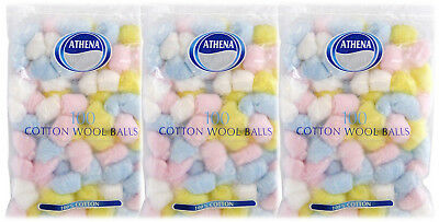 Athena Coloured 100 Cotton Wool Balls- x3 Triple Pack