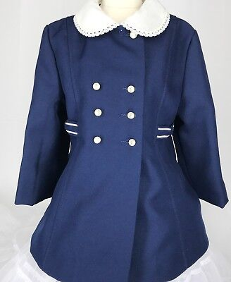 Vintage CUTE TOGS Girls Dress Coat Sz 4 Blue W/ White Collar Union Label