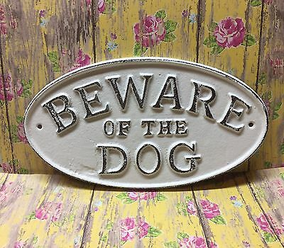 "Cast Iron Antique Vintage Style ""Beware Of The Dog"" Plaque Sign Classic White"