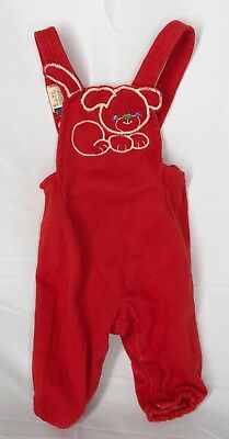 VTG Carter's Baby 6 Mo Red Suspenders With Cute Puppy Embroidered Cute!