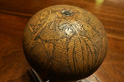 Exquisite Peruvian Hand Carved Gourd - Remarkable and Erotic Detail!