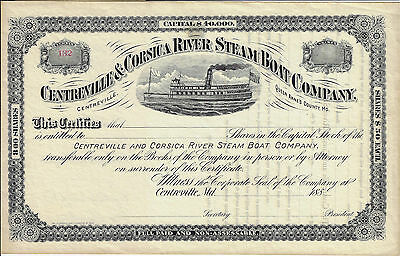 MARYLAND 1880s Centreville & Corsica River Steam Boat Co Stock Certificate