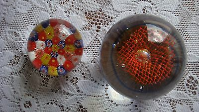 Paperweights Murano Italy 2 Vintage Millefiori Multi Colored Glass Hand Blown