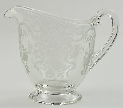 Fostoria Glass Romance Pattern Footed Creamer 8 Oz Vintage Etched Bow Floral