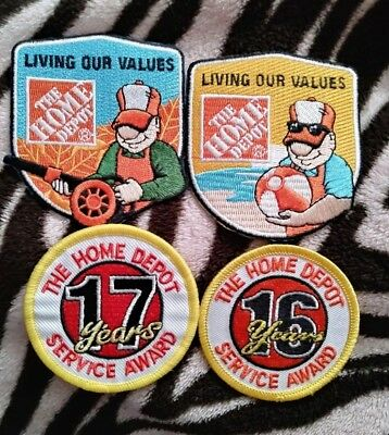 Home Depot Employee Patches Embroidered Badges Homer Awards Lot of 4