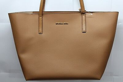 89516333eb9a MICHAEL KORS HAYLEY EAST WEST Acorn/Oyster Leather Large Tote Bag ...