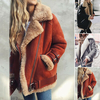 Womens lambswool Coat Aviator Leather Jacket Winter Thick Fake lamb fur Jacket