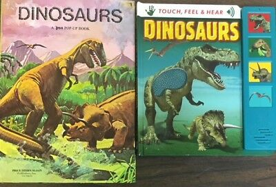 Dinosaur Books for Kids- lot of 2- Pop-Up- Touch, Feel, Dino Sounds