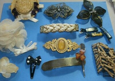 Vintage Womens Hair Jewelry 12 Mixed 80s-90s Accessories Barrettes Clips Sekine