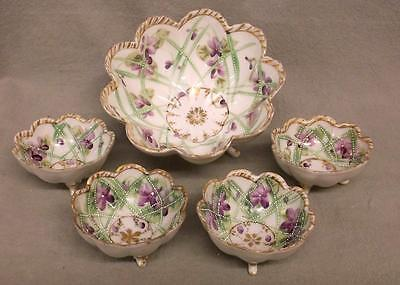 5-pc set Vintage Japanese moriage bowls, scalloped edge, hand painted gold trim