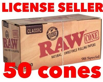 RAW classic 98 special Prerolled CONES w Tips(50 packs)