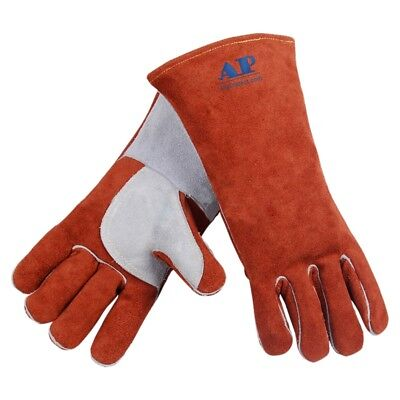 Pop Welding Gloves Welder Working Heat Insulation Glove Cotton Lining Hand Care
