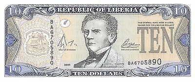 Liberia $10  2004 P 27  Uncirculated Banknote