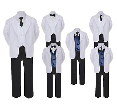5-7pc Formal Black White Suit Navy Bow Tie Neck Vest Boy Baby Sm-20 Teen