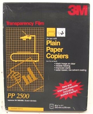 3M Pp2500 Plain Paper Copier Transparency Film 120 Sheets New In Open Box