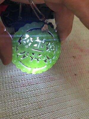 2 1/2 Inches Round  Carved Apple Green Pendant Jadeite Jade!925 Silver chain!