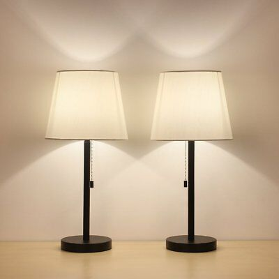 Black Modern Table Lamp Set of 2 Desk Lamp Nightstand Lamps With Fabric Shade