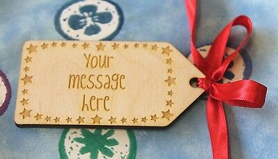 PERSONALISED 'Stars' Wooden GIFT TAG / LABEL Engraved with Your Own Message