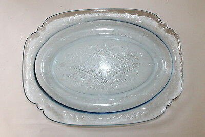 Antique Light Blue Madrid Depression Glass Serving Platter Oval Plate