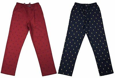 Ralph Lauren Polo Mens All Over Pony Logo Cotton Lounge Pajama Pants Navy/Red