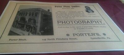 1899 Connellsville PA. George Porter RPPC Photography Building Studio Print