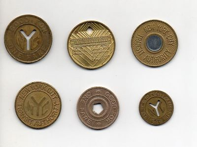 NYC New York City MTA subway tokens Complete set of 6, 1953 - 2003