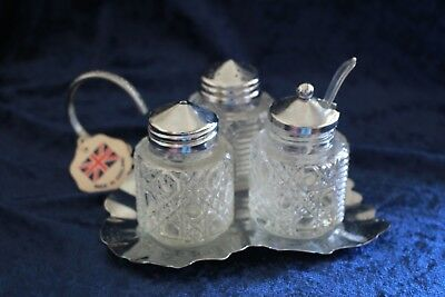 vintage glass crystal cruet set on stand MAYELL ENGLAND unused leaf shape spoon