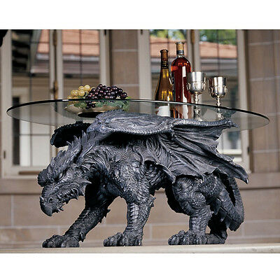 Coffee Table Dragon Resin Grey Glass Top Warwickshire Collection Indoor Decor