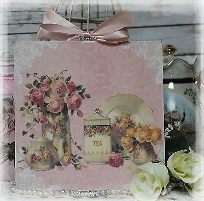 "NEW! ""TEA TIME"" Shabby Chic Vintage Country Cottage style Wall Decor Sign"