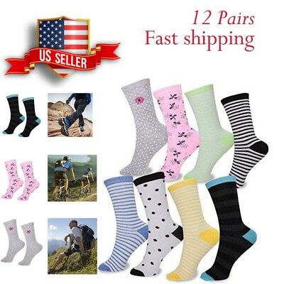 EvridWear Multi-Colored Pattern Crew Socks Variety Style 12 Pair Pack Women Girl