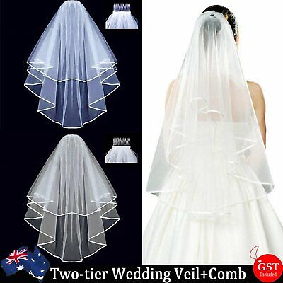 2-Layers White Cream Elbow Length Edge Wedding Bridal Veil Comb Two-tier Party