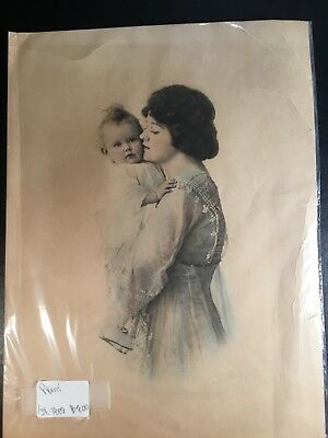 Antique Mother and Child Print Unframed Beautiful Realistic Drawing Vintage Gift