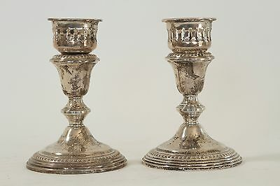 Vintage Pair Of Sterling Silver Weighted large Candle Holders Hallmark