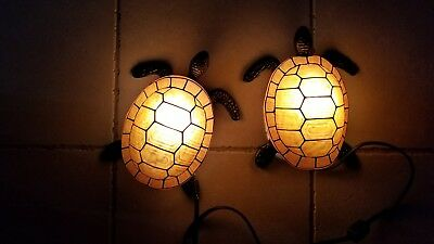 Lot of two (2) Rare Vintage Antique bronze Amber Turtle Accent Lamps